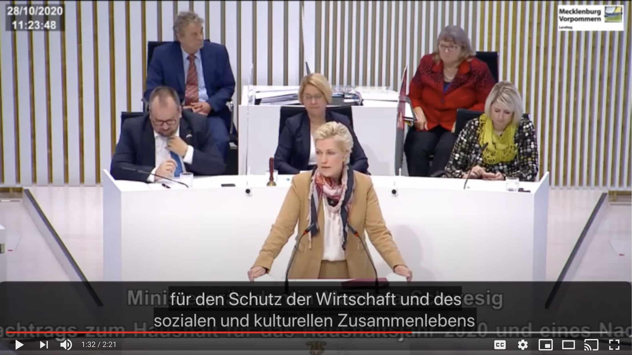 Ministerpraesidentin Manuela Schwesig in speaking in the state parliament of Mecklenburg-Western Pomerania
