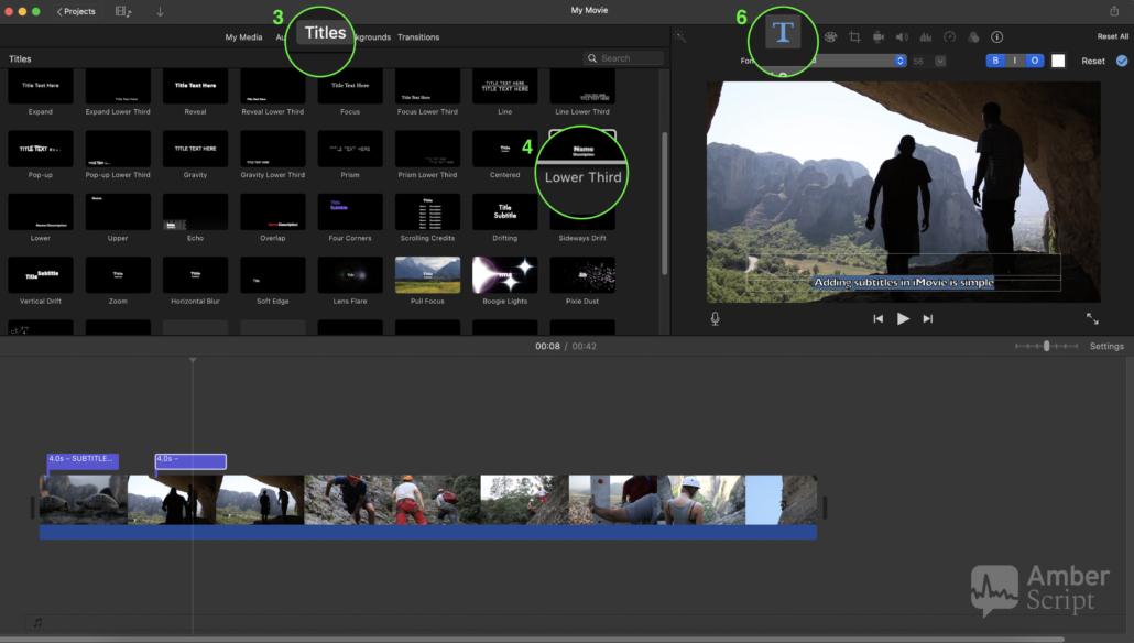 Screenshot presenting adding subtitles in iMovie