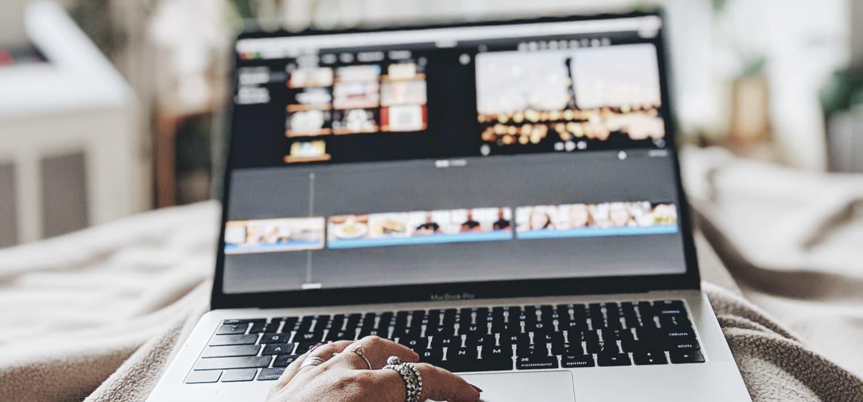 woman adding subtitles in iMovie