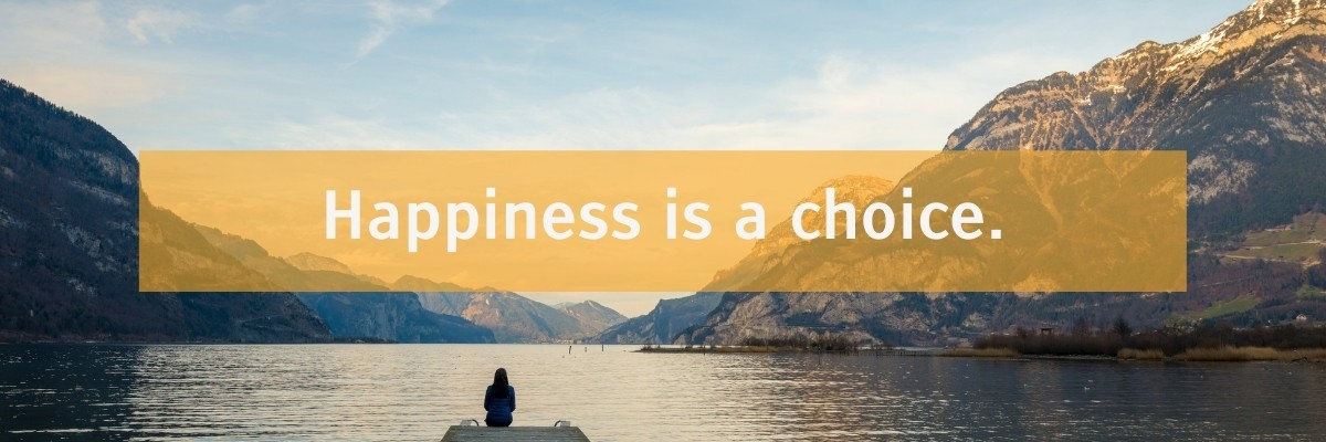 Tiresias font type example with quote Happiness is a choice.