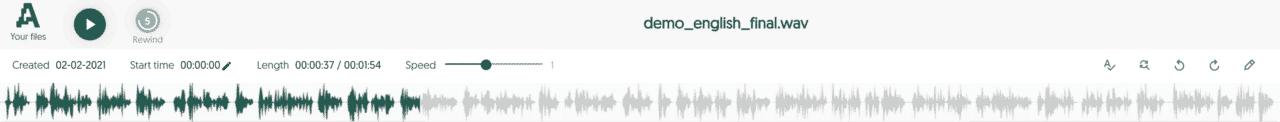 Amberscript online editor default view