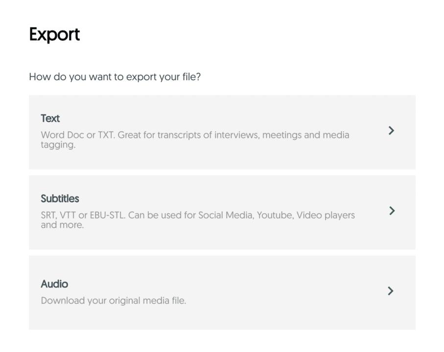 Amberscript online editor export options view