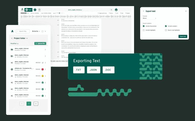 Amberscript transcript export mockup view