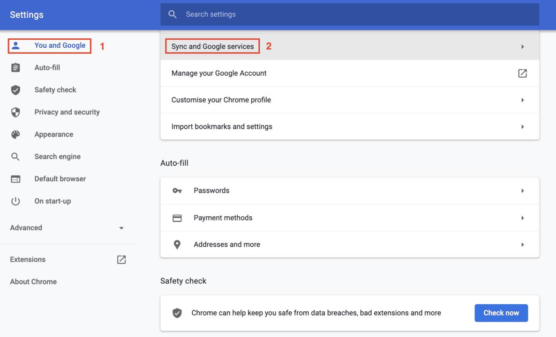 Google Chrome-inställningsvy för att aktivera stavningskontroll
