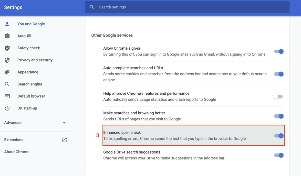 Google Chrome-inställningsvy med förbättrad stavningskontroll aktiverad