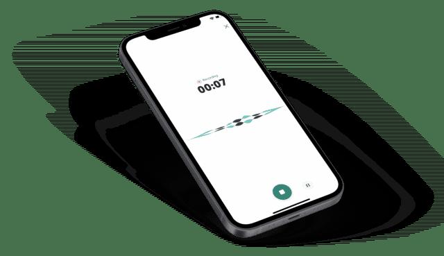 In-app recording screen mockup