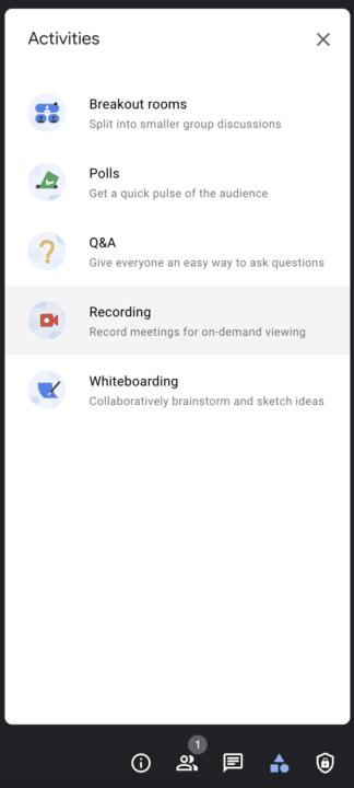 Activities menu during Google Meet video call