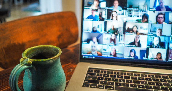 Video call on a MacBook laptop